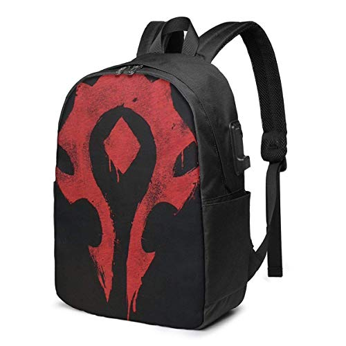 YHKC Warcraft Backpack 17 Inch in Large Laptop Backpack with USB Charging Port and Headphone Jack is Suitable for Travel School.
