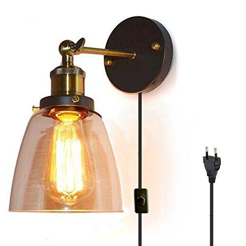 FSLIVING Retro Glas Wandleuchte,1.8 Meter Kabel mit Fassung,Schalter+Stecker Industrie Lampen Küche Zimmer Vintage Wandlampe Mit Verstellbare Kopf(Ohne Glühbirne)