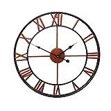 vosarea reloj de pared Vintage en Metal–Número Romano Reloj de pared grande reloj silencioso, redonda para salón dormitorio cocina (bronce, 58cm)