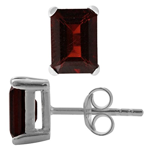 Silvershake 2.66ct. 7x5mm Natural Octagon Shape Garnet White Gold Plated 925 Sterling Silver Stud Earrings