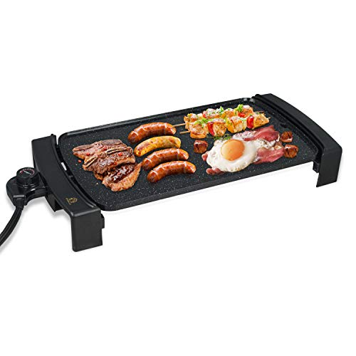 "Electric Griddle Non-Stick, Smokeless Portable Pancake Griddle w/Drip Tray & Cool-touch Handles & Temperature Control, Indoor/Outdoor, 10""x21"" Family-Sized (Black, Non-stick coating)"