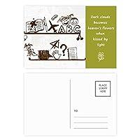 無邪気な子供たちのかわいいイラストの本棚 詩のポストカードセットサンクスカード郵送側20個