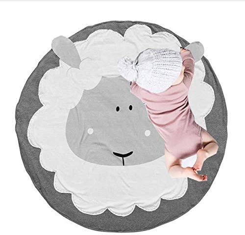 Abreeze Sheep Design Baby Round Play Pad Crawling Mat Crawl Cushion Air-Conditioned Rug for Kids Children Toddlers Bedroom