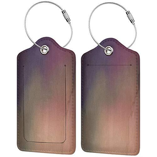 FULIYA Juego de 2 etiquetas de equipaje seguras de alta gama de cuero para maletas, tarjetas de visita o bolsa de identificación de viaje, superficie, manchas, pintura