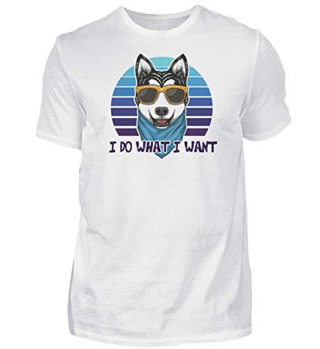 Husky Cooler - Camiseta retro para amantes de los perros, gafas de sol, camiseta para hombre Blanco M