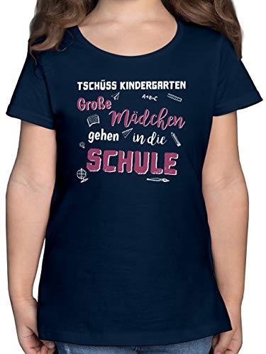 Einschulung und Schulanfang - Tschüss Kindergarten Große Mädchen - 128 (7/8 Jahre) - Dunkelblau - Shirt Kita abschluss - F131K - Mädchen Kinder T-Shirt