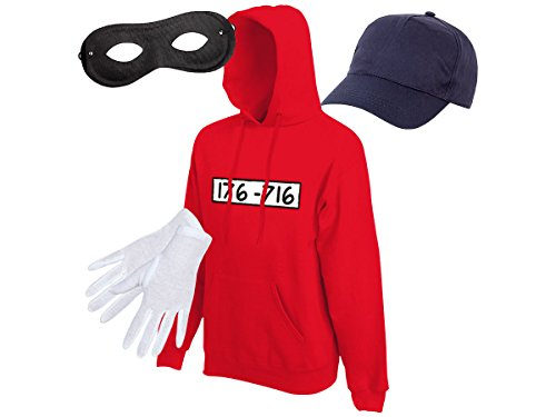 Alsino Panzerknacker Fan Kostüm Outfit Hoodie Maske Set Cap Handschuhe Einbrecher Bankräuber Verkleidung, Größe wählen:L