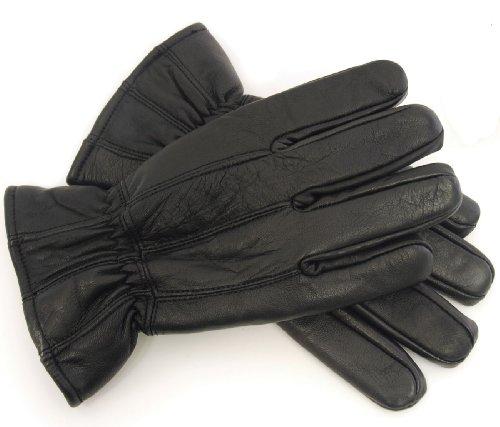 Socks Uwear ® Herren Thermofutter Super Weich Fein Leder Warm Winter Kleid Handschuhe - Black, Large-XLarge