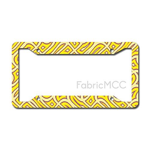 daoyiqi License Plate Frame Yellow Design Wrapping Paper Metal Tag Border US Size 12 x 6 Inches Auto License Plate Holder