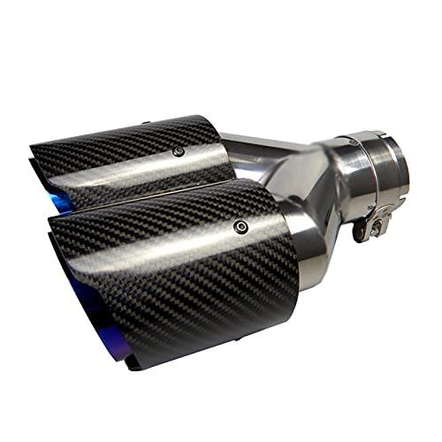"""63 mm Punta de Silenciador Doble Tubo de Escape de Coche de Carbono Punta de cola Entrada de Punta de Cola Salida de 2,5 """"Salida de 3,5""""(Azul Brillante Tostado)"""