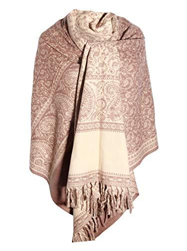 Handgefertigter Schal mit Blumenmuster, hellbraun