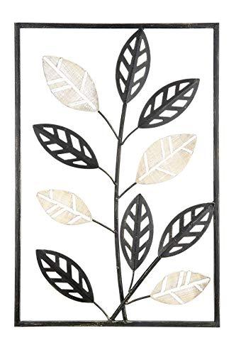 GILDE Wandrelief Blätter Metall/Holz schwarz Höhe 45,5 cm, Wandobjekt, Geschenk, Dekoration