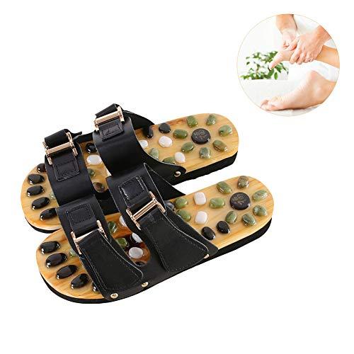 Yulo Fußmassage Hausschuhe Klettverschluss Verbessern Stoffwechsel Magnet Klassische Reflexzonenmassage Massage Flip-Flops,Schwarz,M