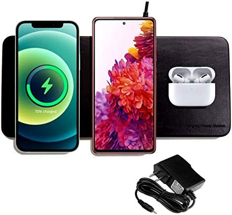 3 in 1 Triple Wireless Charging Pad W AC Adapter Qi Certified Fast Wireless Charging Support product image