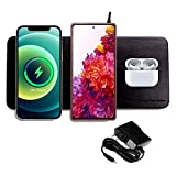 3 in 1 Triple Wireless Charging Pad W/AC Adapter, Qi Certified Fast Wireless Charging, Support The Series of iPhone12, Samsung Galaxy S20/ Note20, New Airpods【Note】 NO Support Qi Watch (Black)