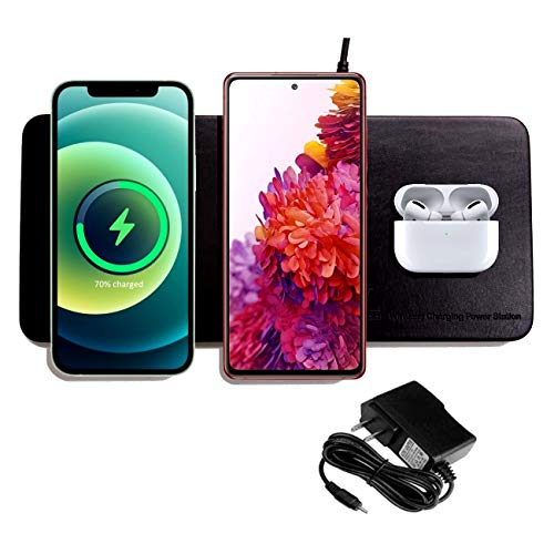 '3 in 1' Triple Wireless Charging Pad W/AC Adapter, Qi Certified Fast Wireless Charging, Support The Series of iPhone12, Samsung Galaxy S20/ Note20, New Airpods【Note】 NO Support Qi Watch (Black)
