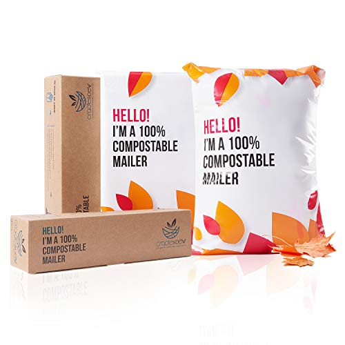 """100% Compostable Biodegradable Mailers - 10"""" x 13"""" Sakura Sunrise Edition, 50pcs Sustainable Mailing Packaging Envelopes Bags, Eco-Friendly, Durable & Weatherproof by Cradle & Dew"""