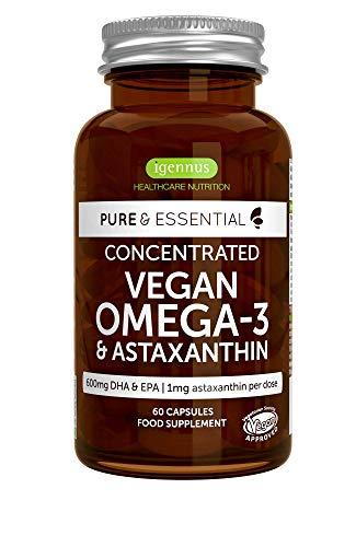 Pure & Essential Vegan Oméga-3 de 1340mg Huile d'Algues (DHA + EPA 600mg) & Astaxanthine, Végétalien, 60 capsules