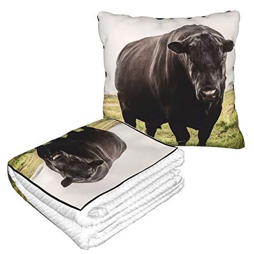 Manta de almohada de terciopelo suave 2 en 1 con bolsa suave grande negro Angus Bull funda de almohada para el hogar, avión, coche, viajes, películas