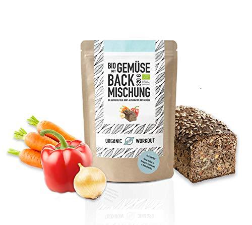 VEGANE BACKMISCHUNG mit Gemüse – Bio, lower-carb* Brot-Alternative, viel Pflanzen-Protein, ballaststoffreich, ohne Getreide, für keto und kohlenhydrat-reduzierte Diät