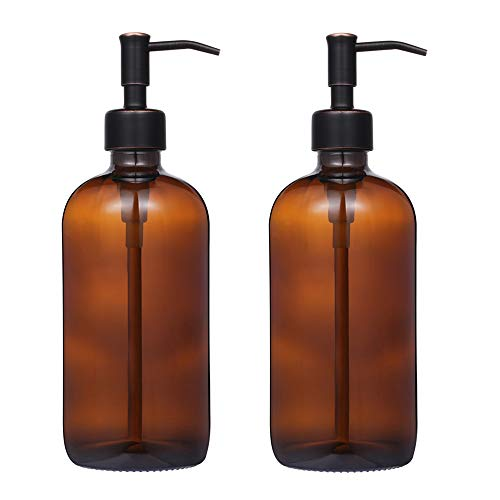 2 Pack Thick Amber Glass Pint Jar Soap Dispenser with Oil Rubbed Bronze Stainless Steel Pump, 16ounce Boston Round Bottles Dispenser with Rustproof Pump for Essential Oil, Lotion Soap