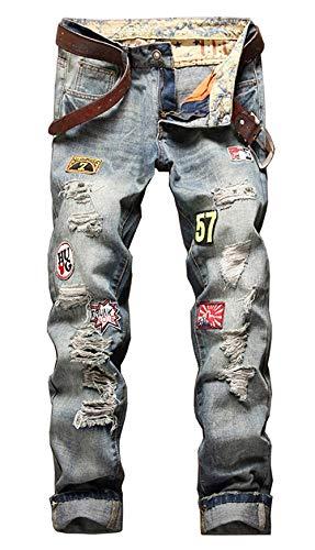 Herren Klassisch Löcher Cher Modisch Jeanshosen Biker Destroyed Bequeme Größen Look Jeans Hose Denim Hig Ripped Mens Trousers Pants Alle Taille Kleidung (Color : 777Asche, Size : 32/33L)