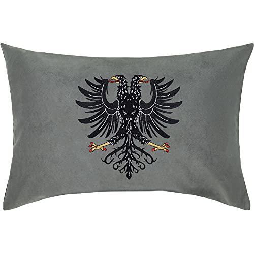 ALBANIEN Wappen Doppel-Adler PREMIUM Kissen mit Bezug 40x60cm Flagge Tirana Eagle Dekokissen und Füllung Zierkissen SCHWARZ Fahne Albania Landeswappen Adler Couch/-Sofakissen groß Polster