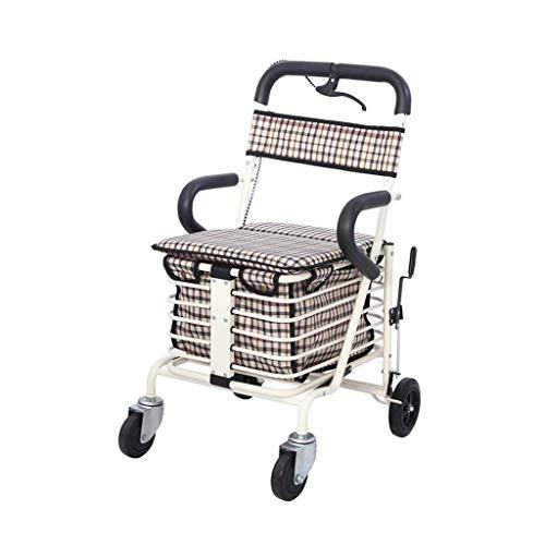 Z-SEAT 4 runde ältere ältere Walker faltbar kann sitzen Wagen Einkaufswagen deaktiviert Gehhilfe , Sitzbreite 38cm Kompakt