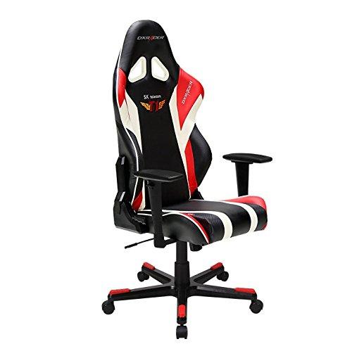 Robas Lund DXracer Oh/RE108/Nr/Skt–Stuhl mit gepolstertem Sitz, Rückenlehne gepolstert, schwarz, rot, weiß, schwarz, rot, weiß, schwarz, PU-Leder