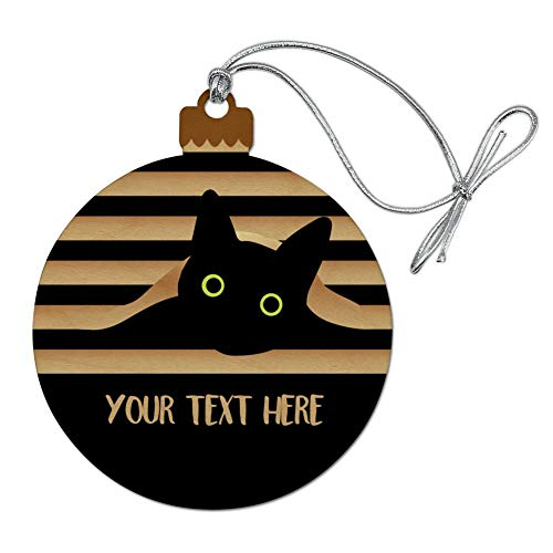 GRAPHICS & MORE Personalized Custom Black Cat in Window 1 Line Wood Christmas Tree Holiday Ornament