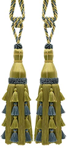Pair of Large Elegant Dark Olive Green, Light Green, French Blue Curtain & Drapery Tassel Tieback / 33cm tassel, 89cm Spread (embrace), Style# TBAR13 Color: Willow - AR03