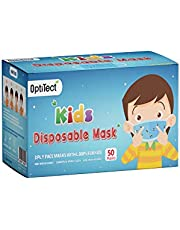 OptiTect Disposable Face Mask For Kids-3 Layered- Blue Color-FDA & CE Certified Masks-50 Pieces(Sealed Box)