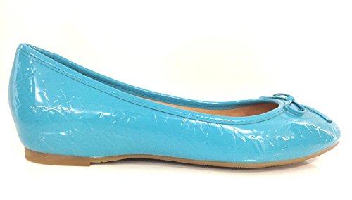 Armani Jeans Scarpe Donna Ballerina Pelle Vernice Turchese LOGATA DS14AJ08