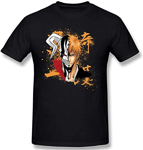 ILLUSORY Men's Anime Bleach Kurosaki Ichigo Short Sleeve Top T-Shirt Black