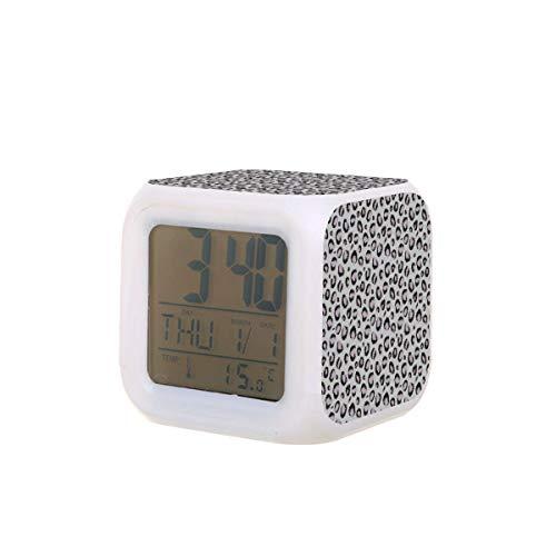 Farbiger, quadratischer kleiner Wecker, Cheeeetah silberner Tierdruck Tischuhr elektronisch bunt digital für Unisex Erwachsene Kinder Spielzeug Geburtstagsgeschenk Geschenk