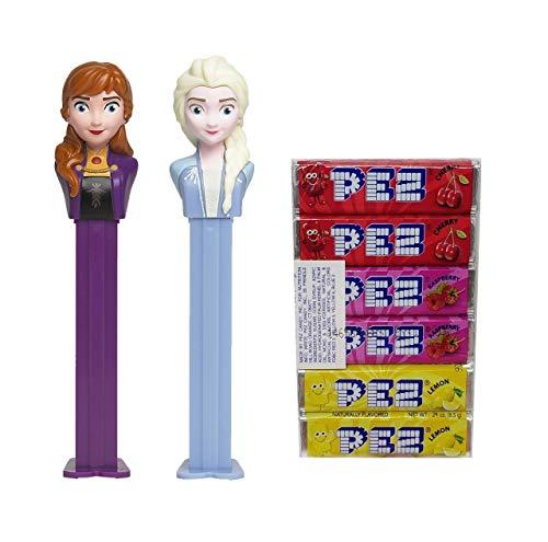 Frozen 2 Pez Dispensers Set - Elsa Pez Dispenser and Anna Pez Dispenser With 6 Extra Candy Refills | Frozen Party Favors, Grab Bags