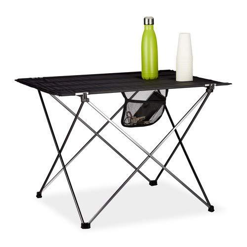 Relaxdays Campingtisch klappbar, mit Tasche, leicht, Outdoor Klapptisch Camping, HBT 51x73,5x54,5cm, Aluminium, schwarz