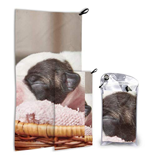 N\A Sleepy Puppy Dog Cute Pet 2 Pack Microfiber Bath Towel Pool Serviette Set Fast Drying Best for Gym Travel Backpacking Yoga Fitnes