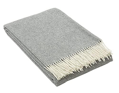 Nostra   Merino Wolldecke Merino-300   80prozent Merinowolle   Sofadecke  Warme & gemütliche Tagesdecke   Grau Decke   140x200 cm