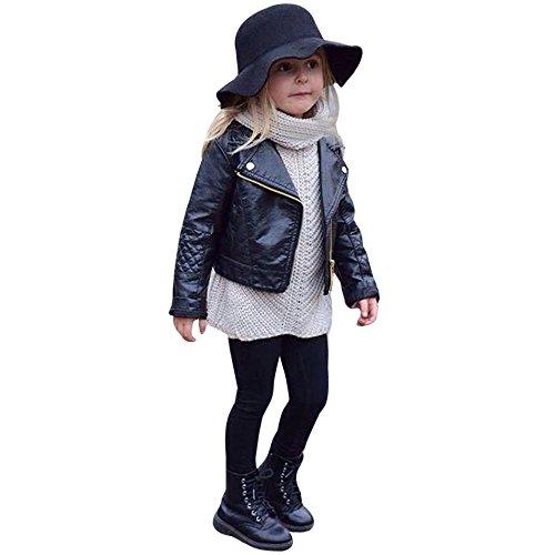 FeiliandaJJ Baby Kinder Mantel, Coat Jacken Herbst Winter Junge Mädchen Schwarz Pu Nähte Revers Lederjacke Strickjacke Kleidung Warm Outwear (110(3~4 Jahre), Schwarz)