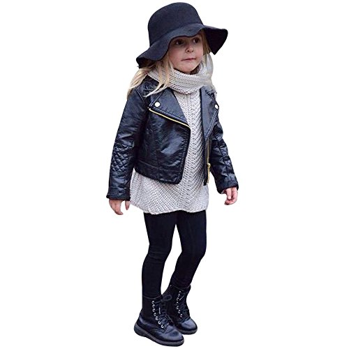 Youmymine Toddler Baby Boys Girls Motorcycle Faux Leather Jackets Zip Coat Winter Fashion Outwear (18-24 Months, Black)