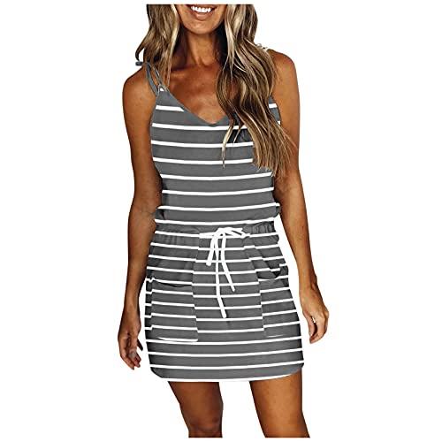 Kleider für Frauen/Damen Sommerkleid/Frauen Sexy Print Lose Kleid Casual V-Ausschnitt Ärmelloser Gurt Öffnen Zurück Kleid (Grau,XXL)