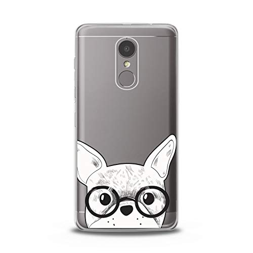 Lex Altern TPU Case Compatible with Lenovo Phone K8 Note K6 Note 2017 K5 Plus Z5 Smart Lightweight Bulldog Glasses Girl Art Cover Animal French Smooth Print Dog Design Clear Slim fit Soft White