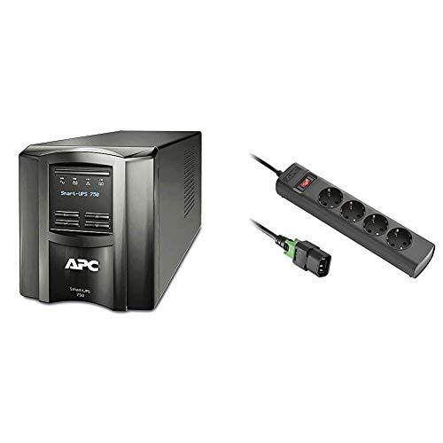 APC Smart-UPS SMT-SmartConnect - SMT750IC - Unterbrechungsfreie Stromversorgung 750VA & USV Steckdosenleiste Eingang IEC (C14 Kaltgeräte) verriegelbar, auf 4X Schutzkontakt Ausgang, 1,5m schwarz