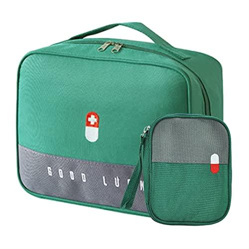 2er Medikament Tasche Große Kapazität Wasserdicht Notfalltasche Erste Hilfe Tasche Leer Medizin Reisetasche Medizintasche Tragbar Medikamententasche 2 Größe für Reisen Unterwegs Home Büro (Grün)