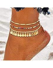 Handcess - Cavigliere con paillettes multistrato, con nappe dorate, per donne e ragazze