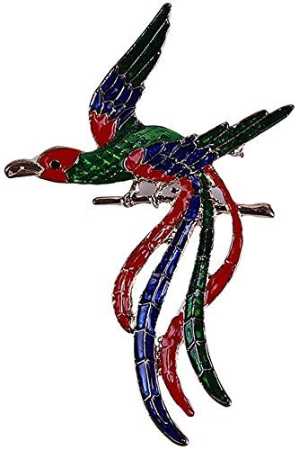 Broche de cola larga con diseño de pájaro de Phoenix esmaltado, accesorios de ropa, diseño práctico y duradero