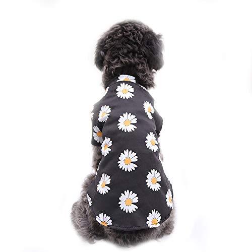 NashaFeiLi Haustierkleidung, Hunde-T-Shirt, Blumenmuster, Baumwolle, atmungsaktiv, für kleine und mittelgroße Hunde