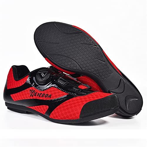 Zapatillas de Ciclismo Sin Bloqueo Zapatillas de Ciclismo de Carretera MTB,Zapatillas de Ciclismo Para Exteriores Para Ciclismo en Interiores con Suela de Goma Antideslizante,Red-43