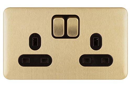 Schneider Electric Lisse GGBL3020BSB - Toma de corriente doble conmutada, 13 A, latón satinado con inserto negro